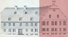 Zeichnerische Ansicht der Schwesternhäuser