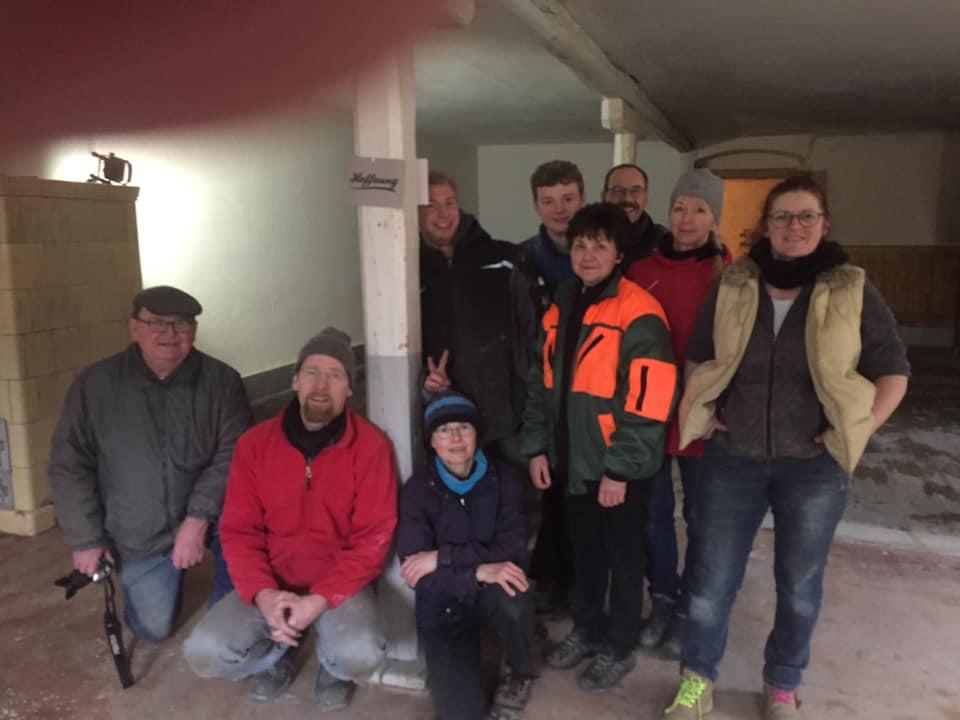 Gruppenbild der Helfer beim arbeitseinsatz am 6.3.2020